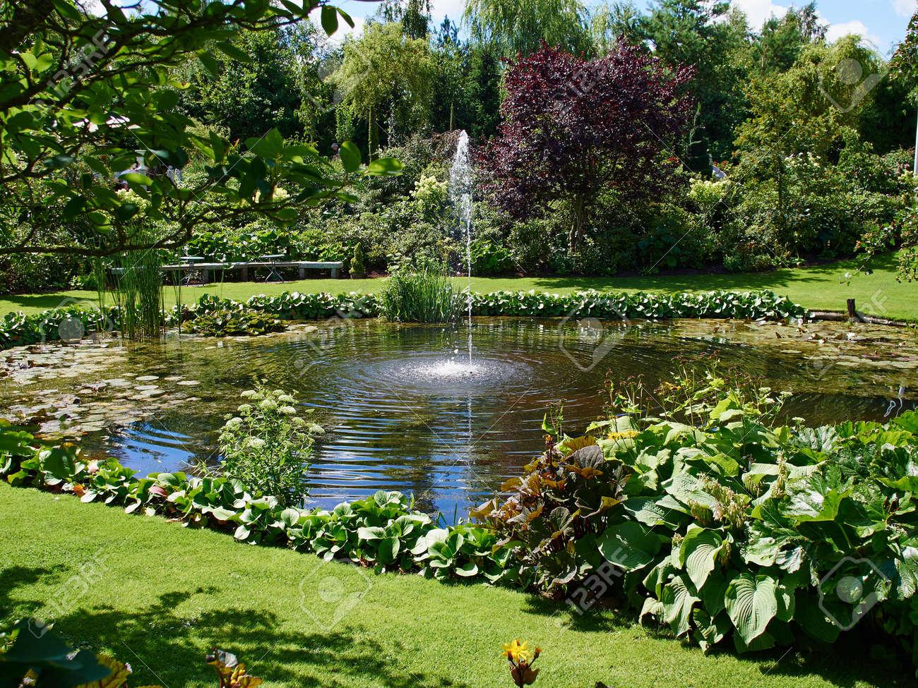 zierteich und wasserbrunnen in einem schönen kreativen grünen