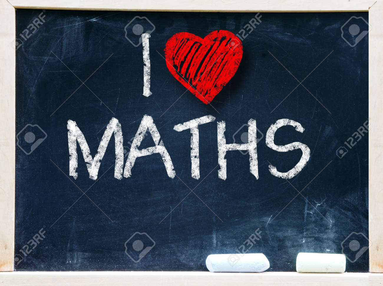 I love maths written on a chalkboard Stock Photo - 19056477