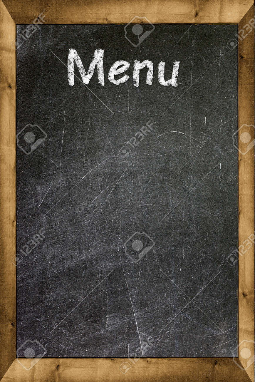 menu title written with chalk on blackboard stock photo picture and
