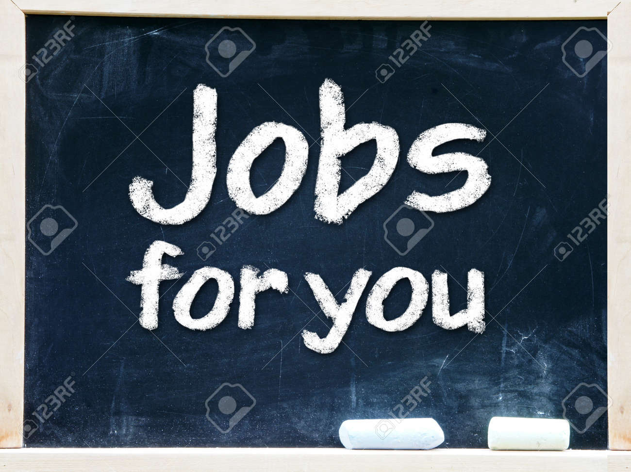I love my job handwritten with white chalk on a blackboard Stock Photo - 20601436