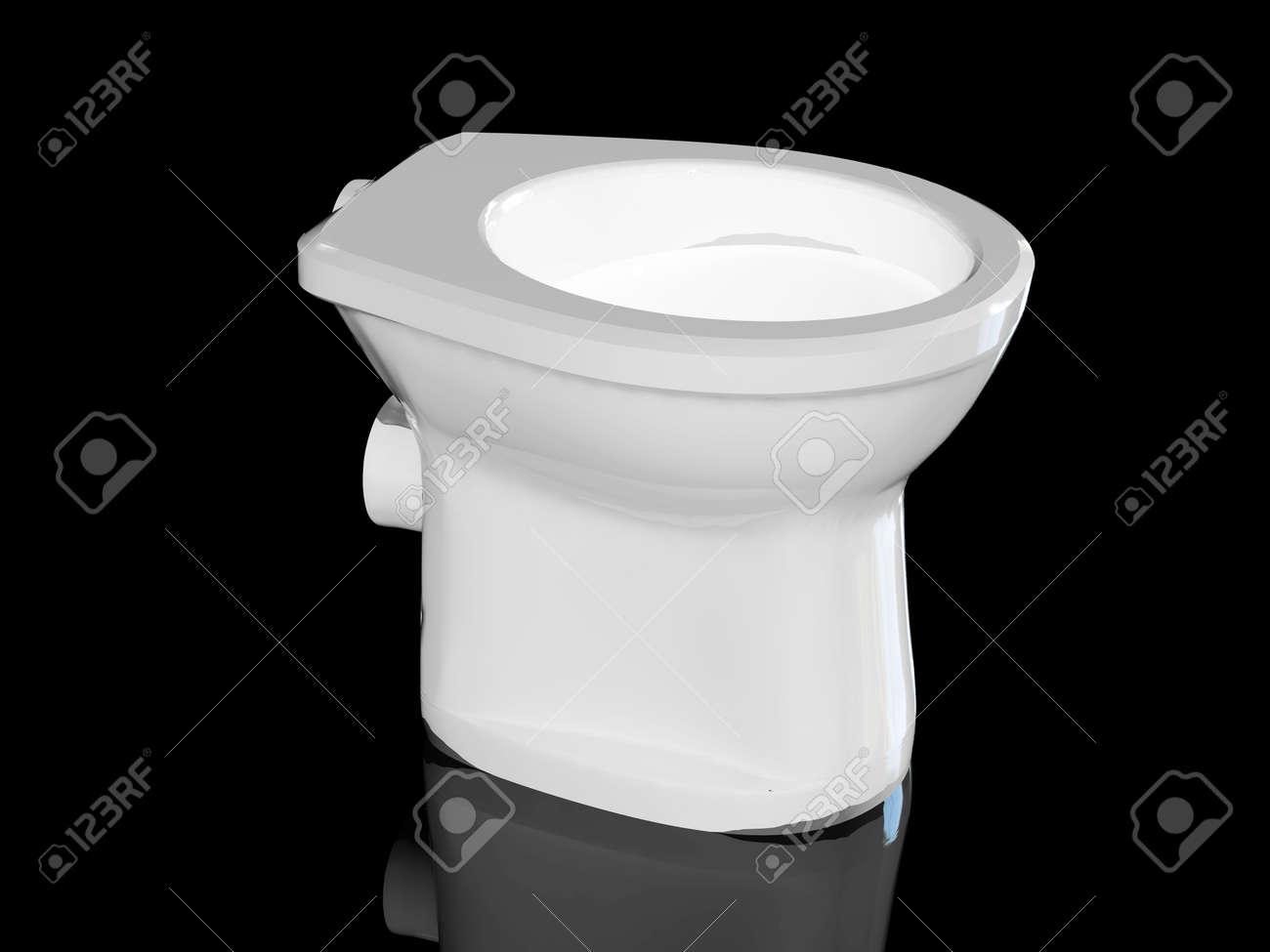 High resolution image white toilet bowl. 3d illustration over  black backgrounds. Stock Illustration - 2626073