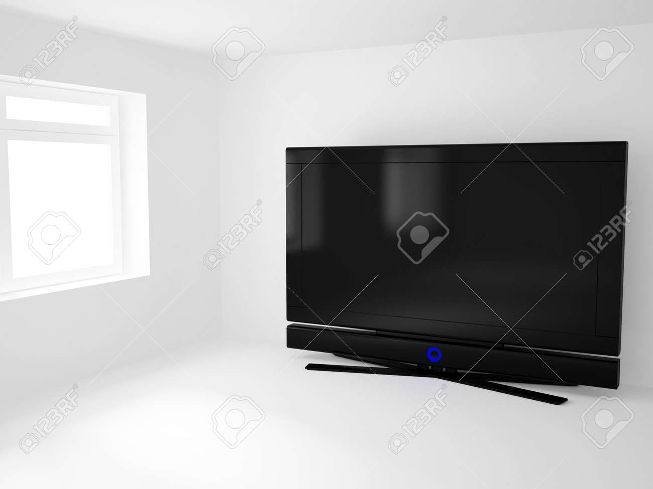 High resolution image 3d room with a  tv. 3d illustration. Stock Photo - 3067629
