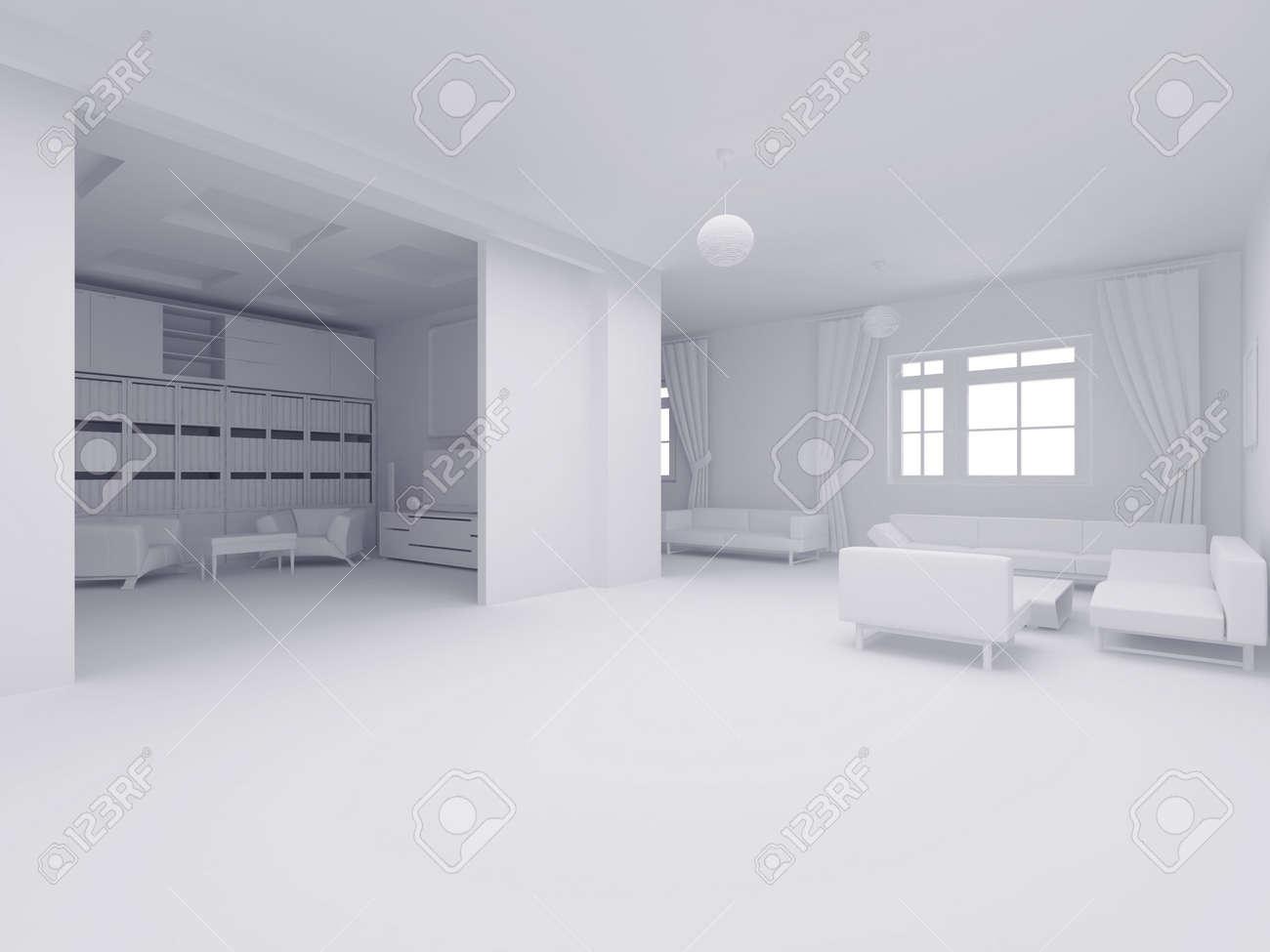 Bild Mit Hoher Auflösung Inneren. 3D-Darstellung Moderner ...