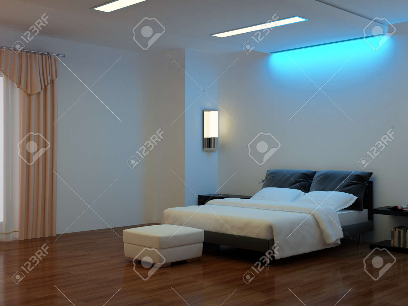 High Resolution Image Interior A Bed In Bedroom Stock Photo