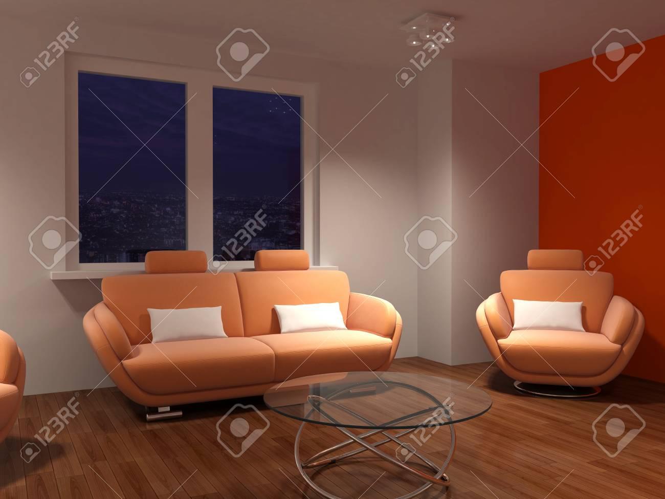 Modern Interieur Woonkamer : Hoge resolutie afbeelding interieur d illustration modern