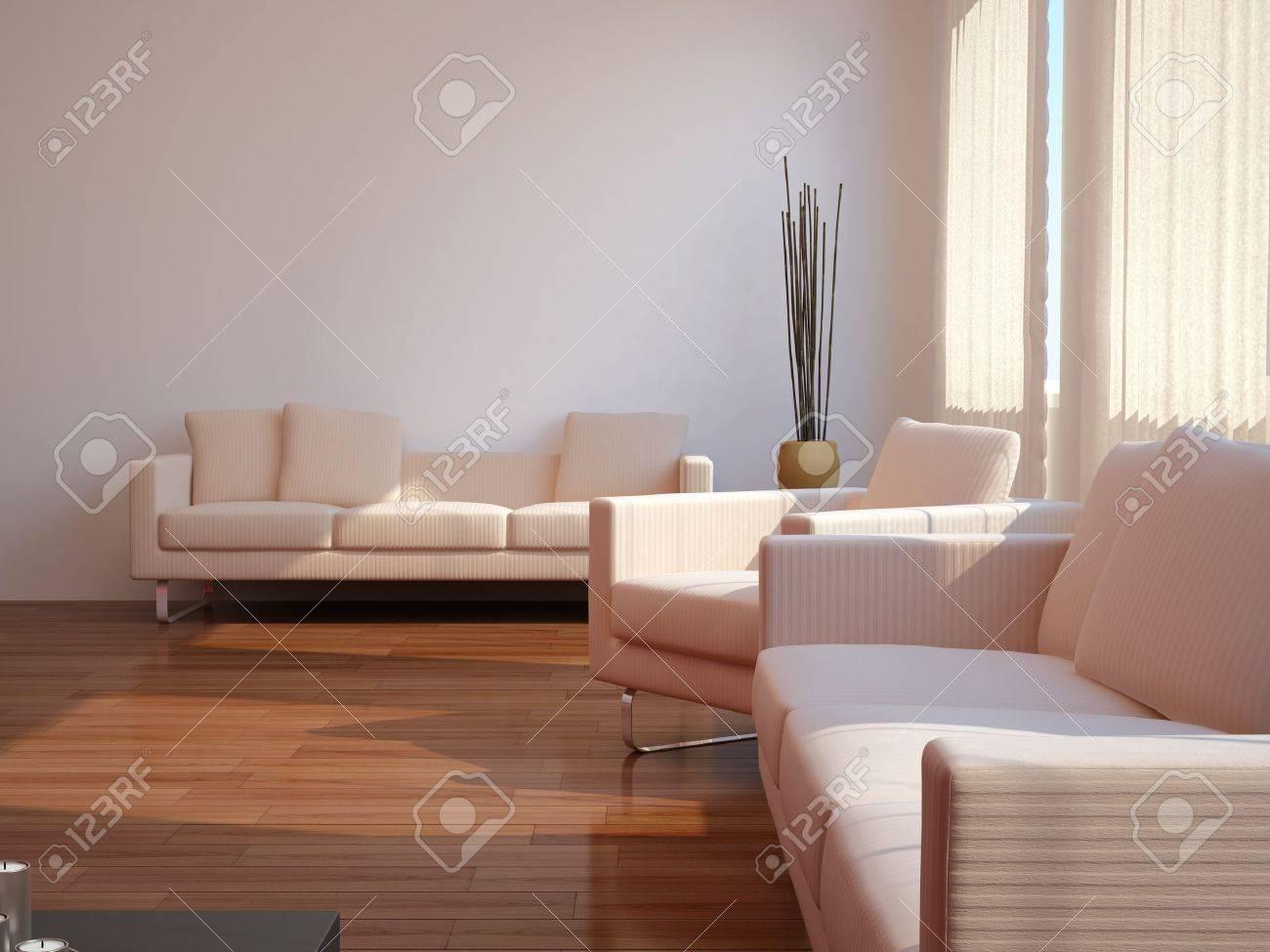 High Resolution Image Interior 3d Illustration Modern Living Room Stock