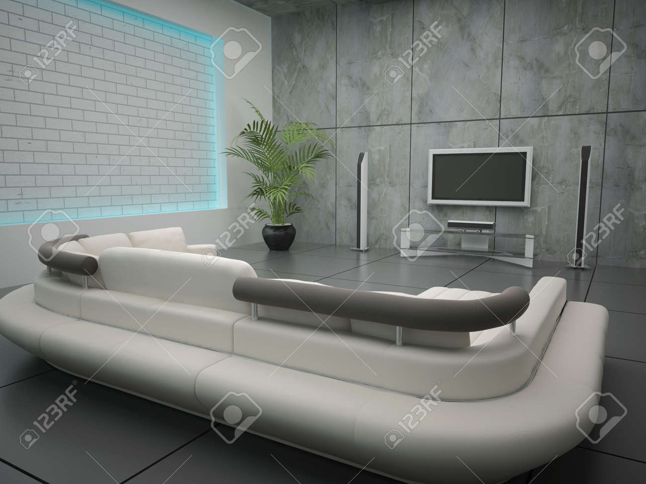 High resolution image interior. 3d illustration modern interior. Living room. Stock Illustration - 4588285
