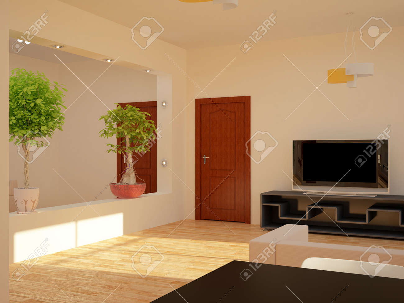 High resolution image interior. 3d illustration modern interior. Stock Photo - 5192655