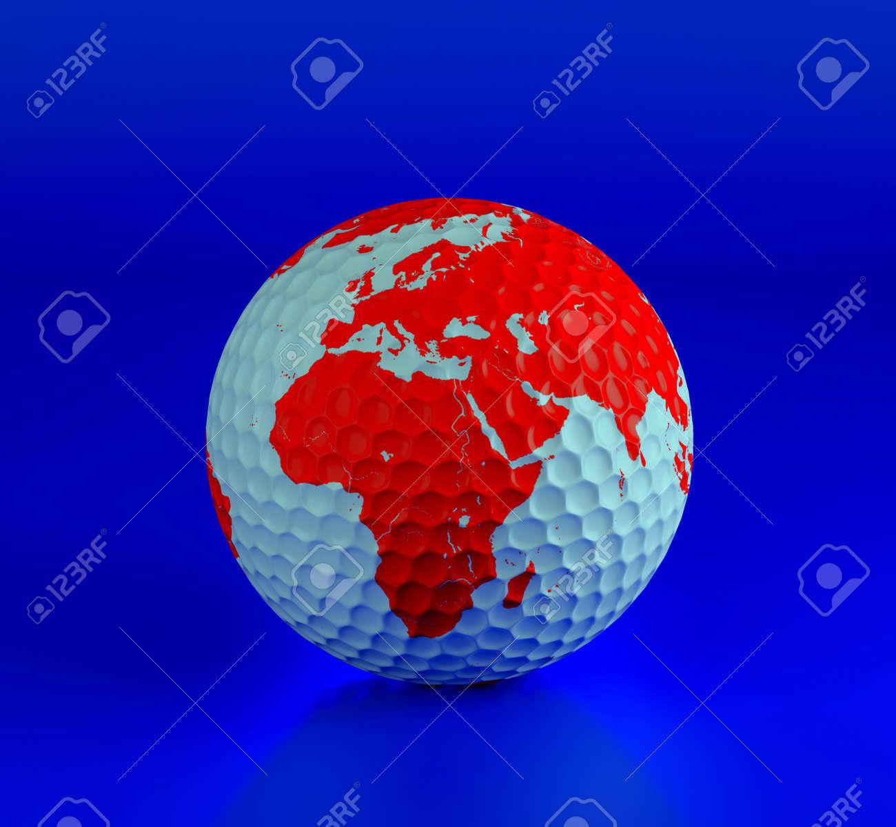 Golf ball isolated on blue. 3d illustration. High resolution image. Stock Illustration - 6987406