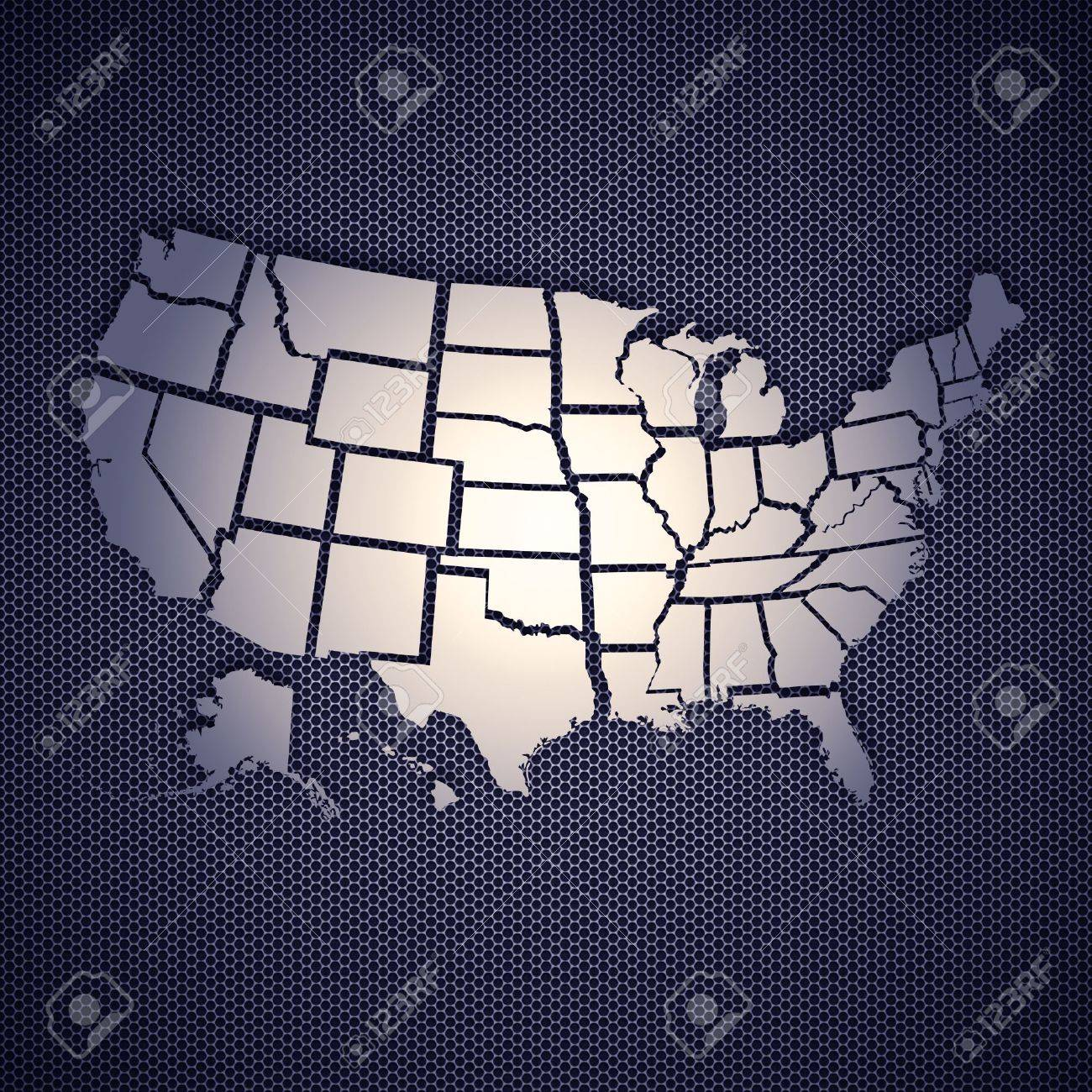 Usa Map Isolated On Metal Background High Resolution Image Stock Metal Us Map