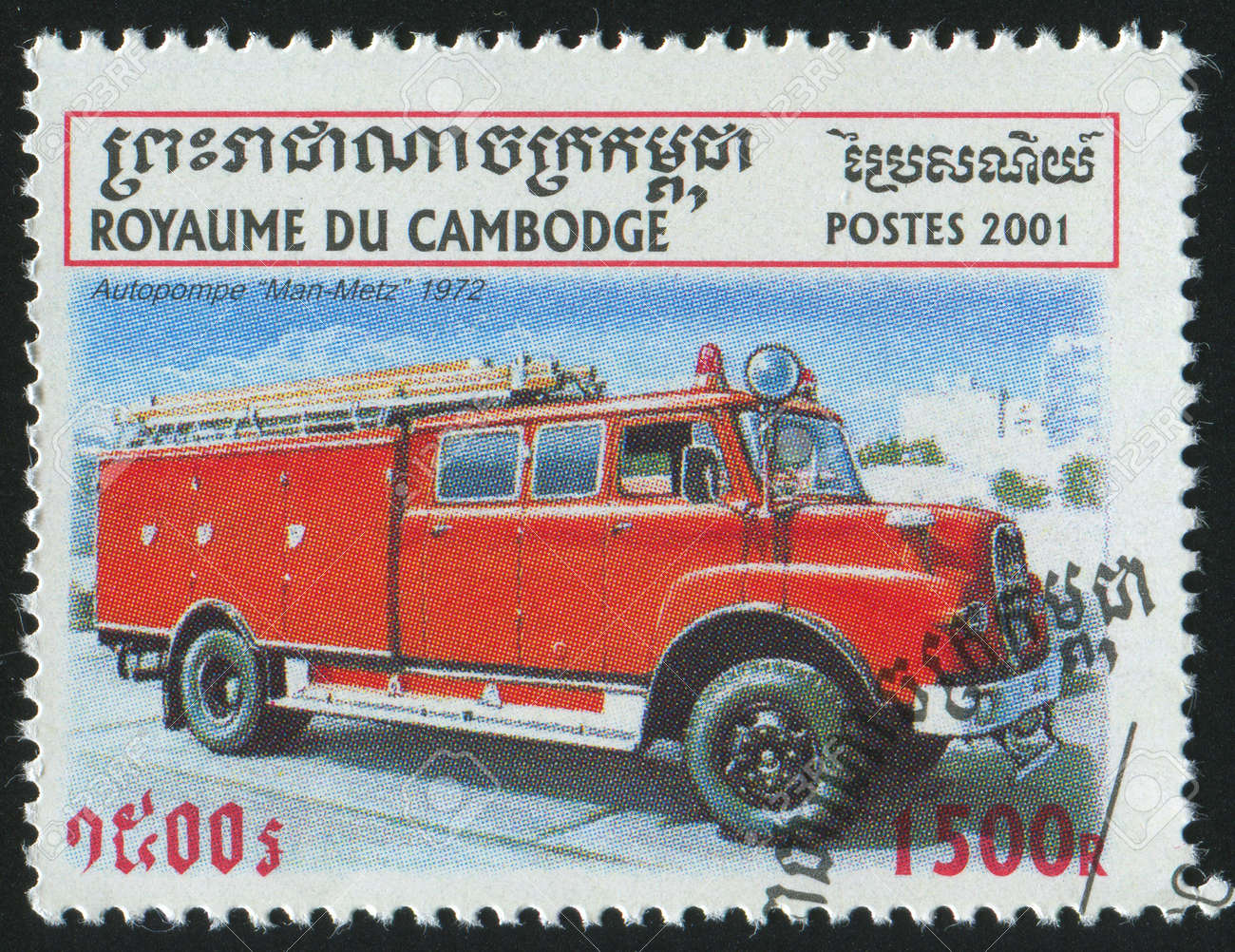 CAMBODIA - CIRCA 2001: stamp printed by Cambodia, shows retro car, circa 2001. Stock Photo - 7257362