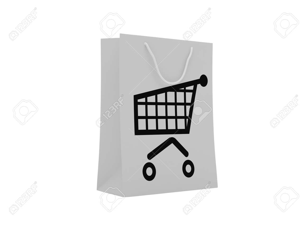Paper shopping bag with shopping cart. High resolution image. Stock Photo - 7470918