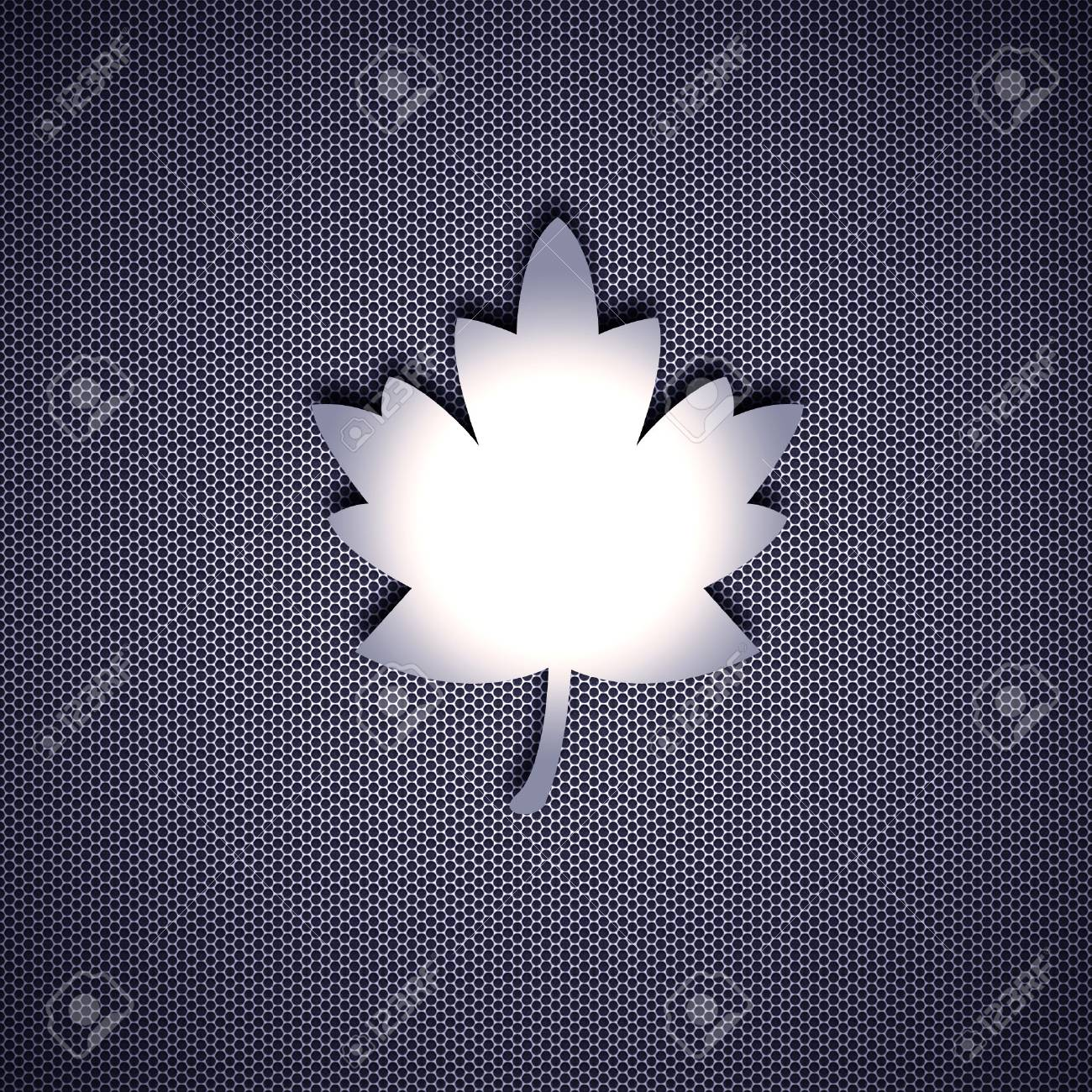 Leaf isolated on metal background. Steel background. Stock Photo - 8013559