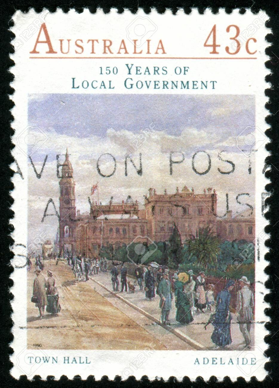 AUSTRALIA - CIRCA 1990: stamp printed by Australia, shows Town Hall, Adelaide, circa 1990 Stock Photo - 8560140