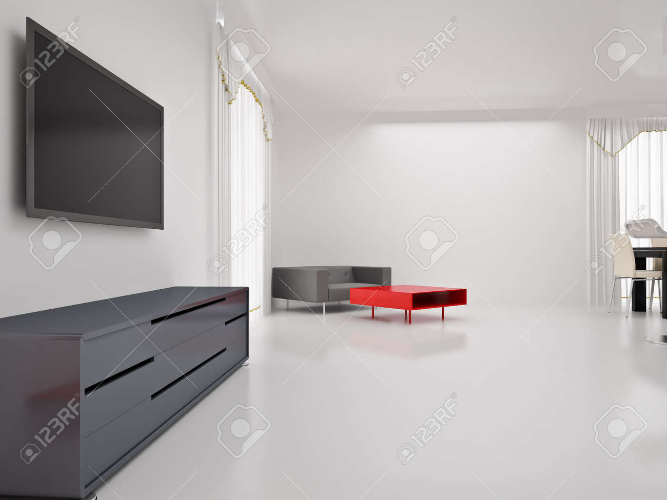 Modern TV In Room Interior Of The High Resolution Image 3d