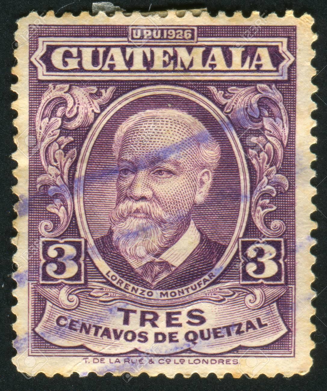 GUATEMALA - CIRCA 1926: stamp printed by Guatemala, shows Lorenzo Montufar, circa 1926 Standard-Bild - 8824238