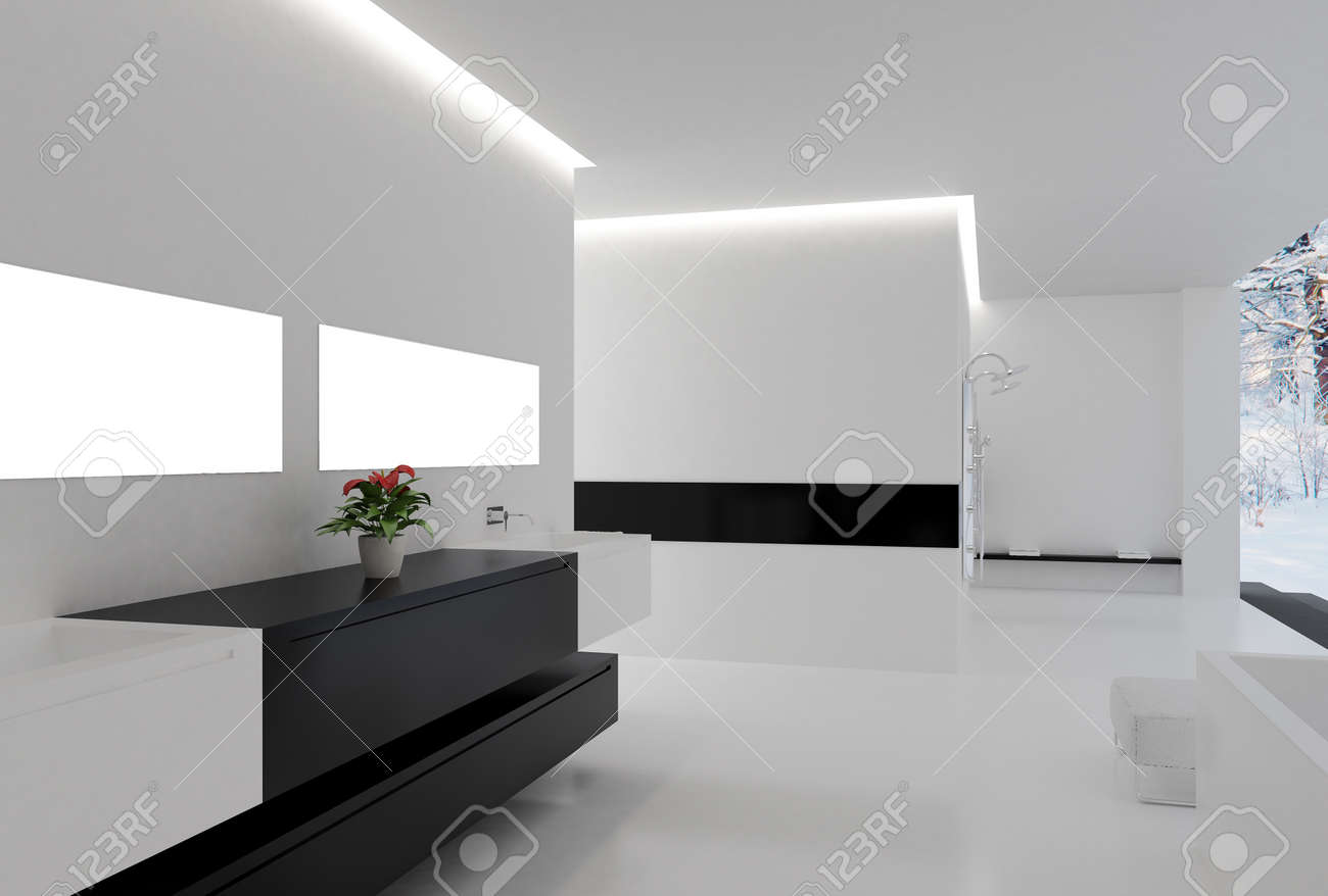 High Resolution Image 3d Rendered Illustration Interior Of The Modern Room Stock
