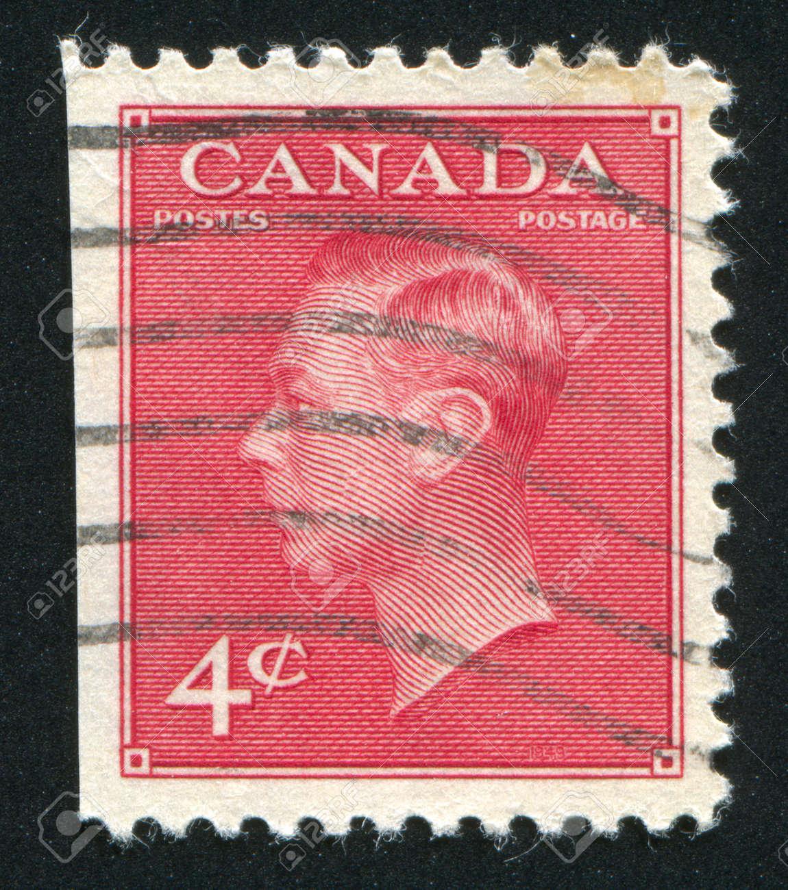 CANADA - CIRCA 1949: stamp printed by Canada, shows King George VI, circa 1949 Stock Photo - 9381247