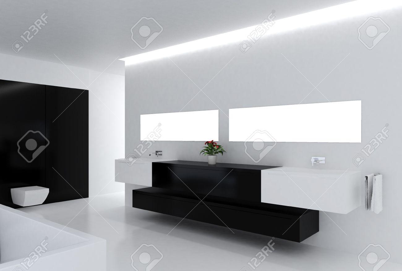 Merveilleux High Resolution Image. 3d Rendered Illustration. Interior Of The Modern  Bathroom. Stock Illustration