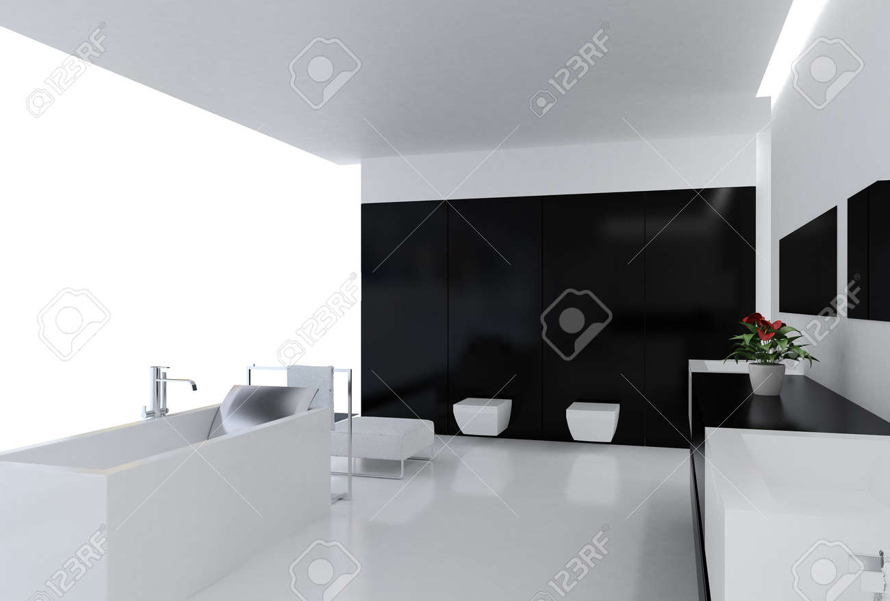 high resolution image 3d rendered interior of the modern bathroom stock