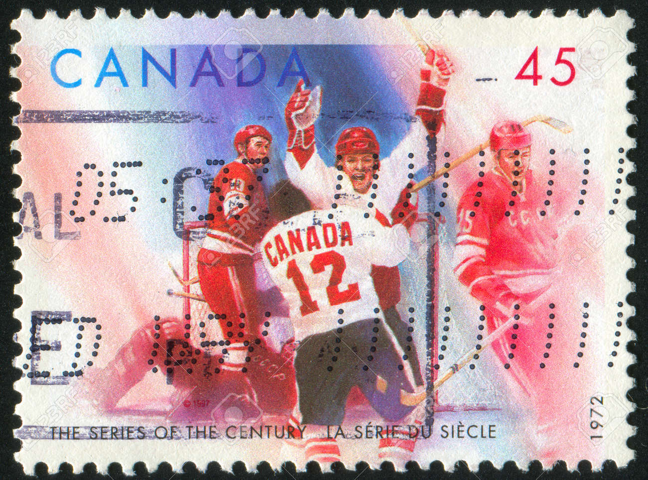CANADA - CIRCA 1972: stamp printed by Canada, shows Hockey, circa 1972 Stock Photo - 9674926