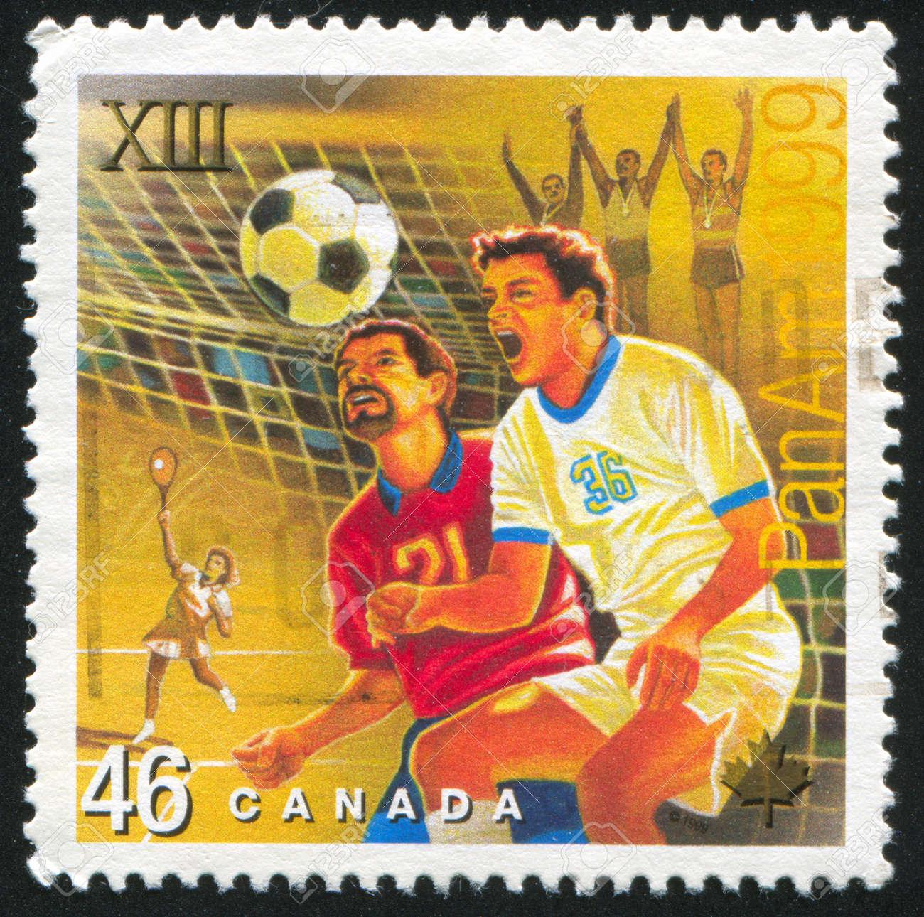 CANADA - CIRCA 1999: stamp printed by Canada, shows footballer, circa 1999 Stock Photo - 9742623