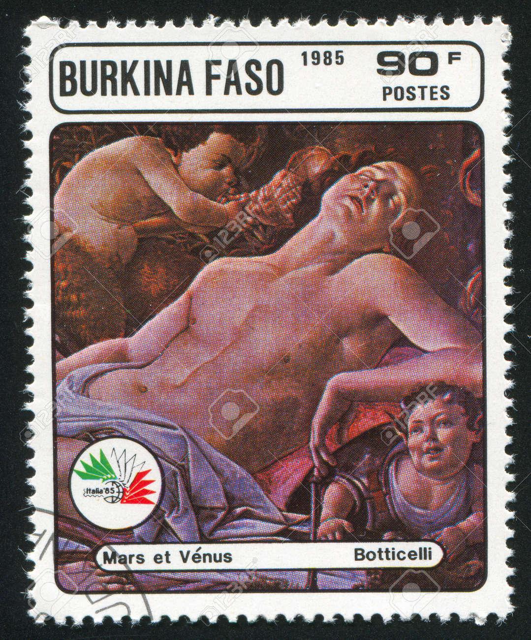 BURKINA FASO CIRCA 1985: stamp printed by Burkina Faso, shows Mars and Venus, Botticelli, circa 1985 Stock Photo - 10892202