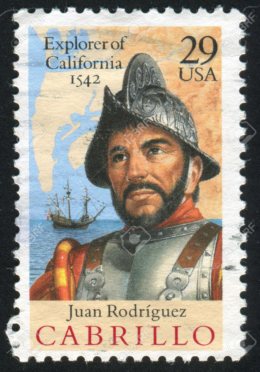 UNITED STATES - CIRCA 1992: stamp printed by United States of America, shows Cabrillo, Ship, Map