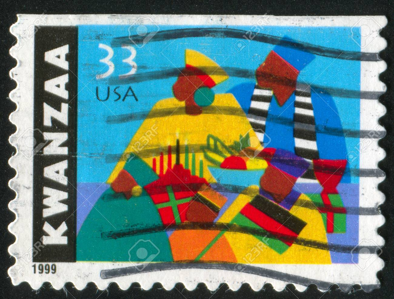 UNITED STATES - CIRCA 1999: stamp printed by United States of America, shows Kwanzaa celebration, circa 1999 Stock Photo - 11371364