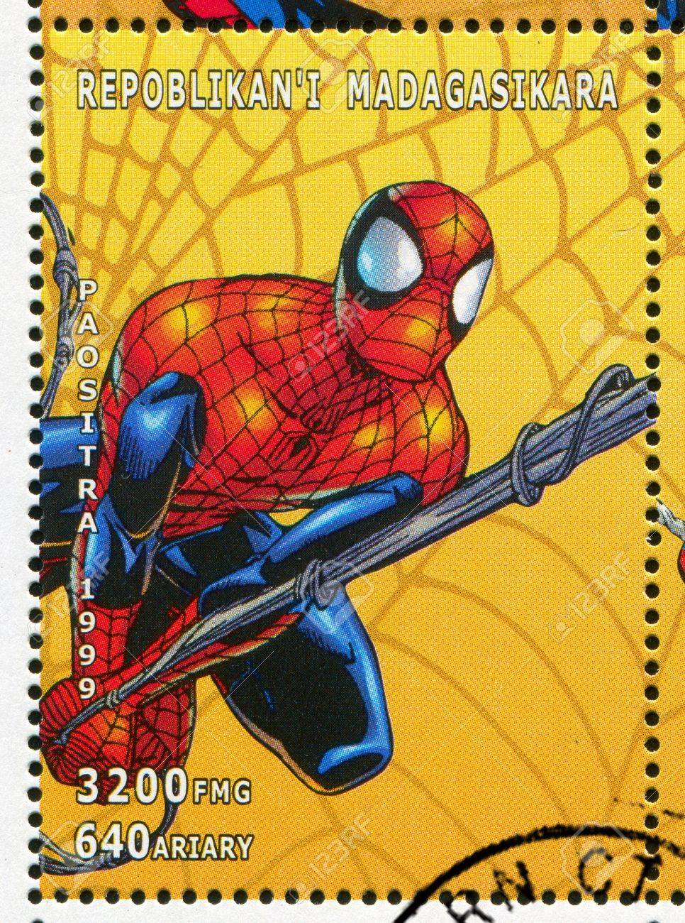 MADAGASCAR - CIRCA 1999: stamp printed by Madagascar, shows Spider-man, circa 1999 Stock Photo - 12147624