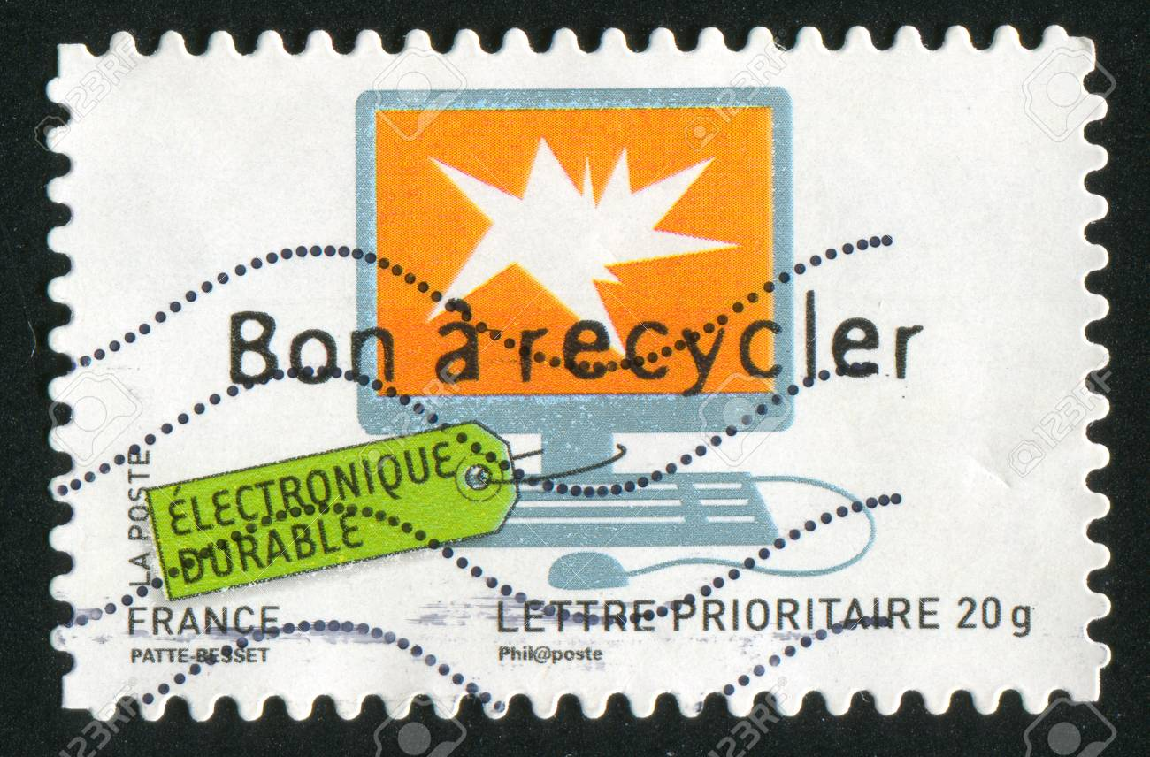 FRANCE - CIRCA 2008: stamp printed by France, shows computer, circa 2008 Stock Photo - 12395889
