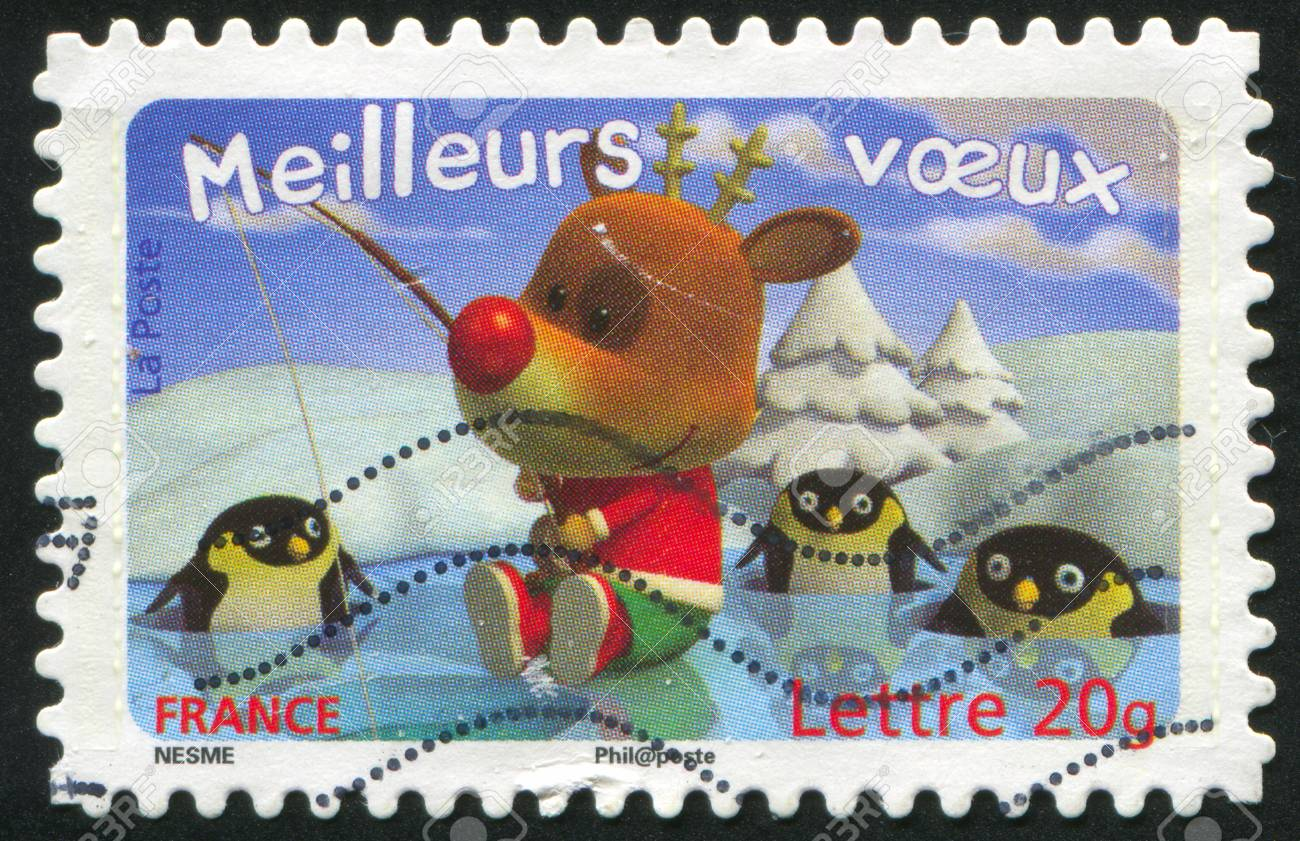 FRANCE - CIRCA 2007: stamp printed by France, shows deer and penguins, circa 2007 Stock Photo - 12354767