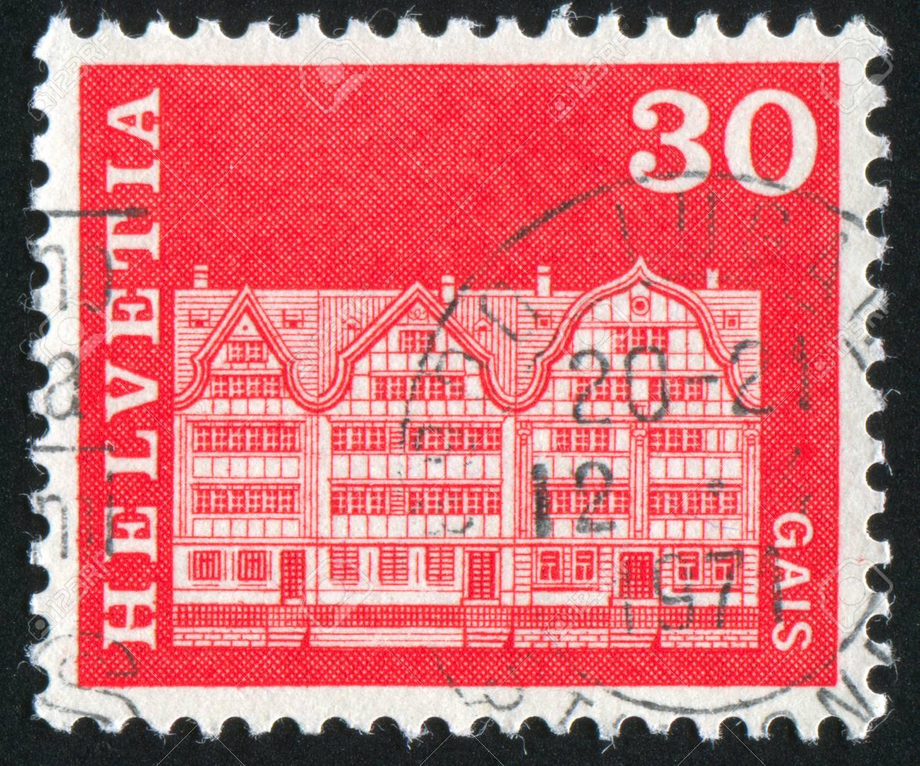 SWITZERLAND - CIRCA 1968: stamp printed by Switzerland, shows Gabled houses, Gais, circa 1968 Stock Photo - 12395141