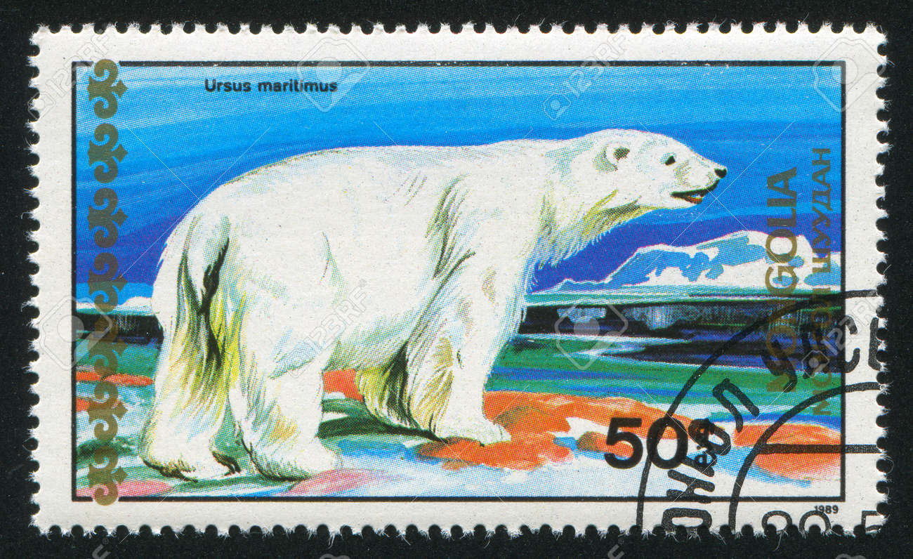 MONGOLIA - CIRCA 1989: stamp printed by Mongolia, shows polar bear, circa 1989 Stock Photo - 12594509