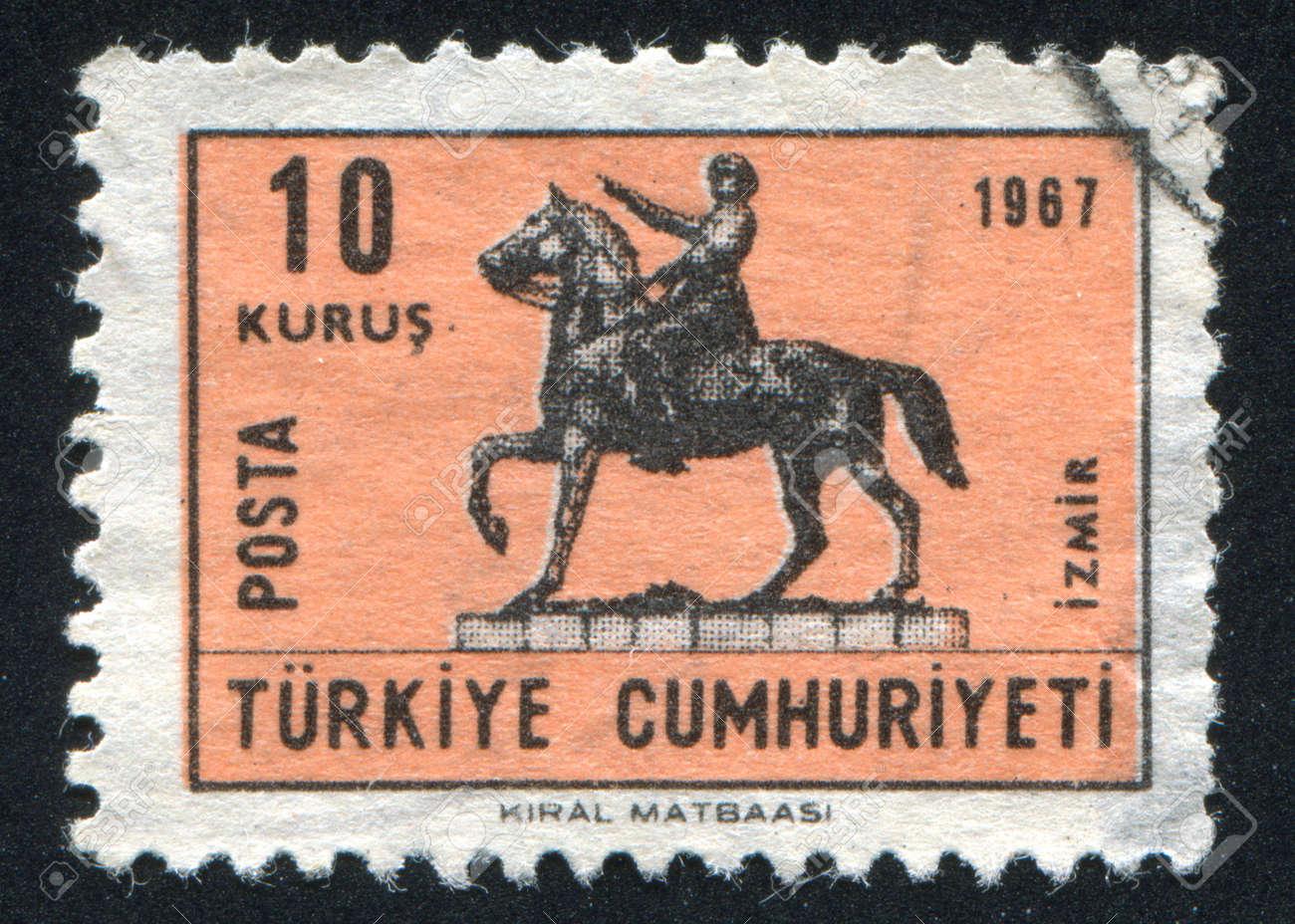 TURKEY- CIRCA 1967: stamp printed by Turkey, shows statue Ataturk of horse, circa 1967 Stock Photo - 12789711