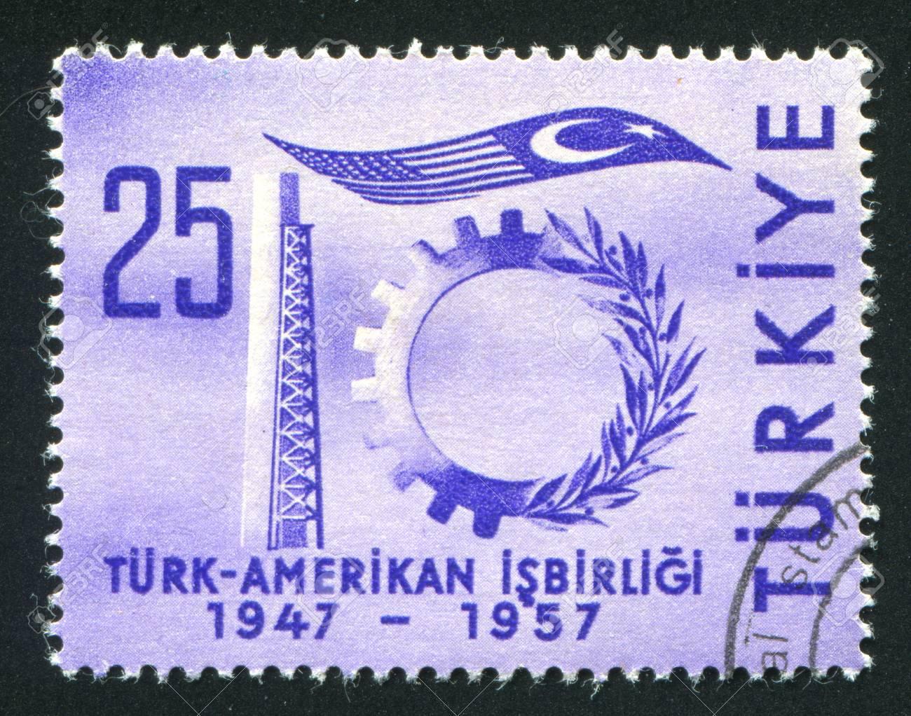 Turkey Circa 1957 Stamp Printed By Turkey Shows Symbols Of