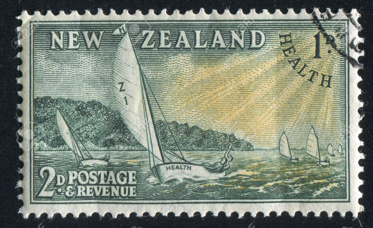 NEW ZEALAND - CIRCA 1951: stamp printed by New Zealand, shows Racing Yachts, circa 1951 Stock Photo - 13098493