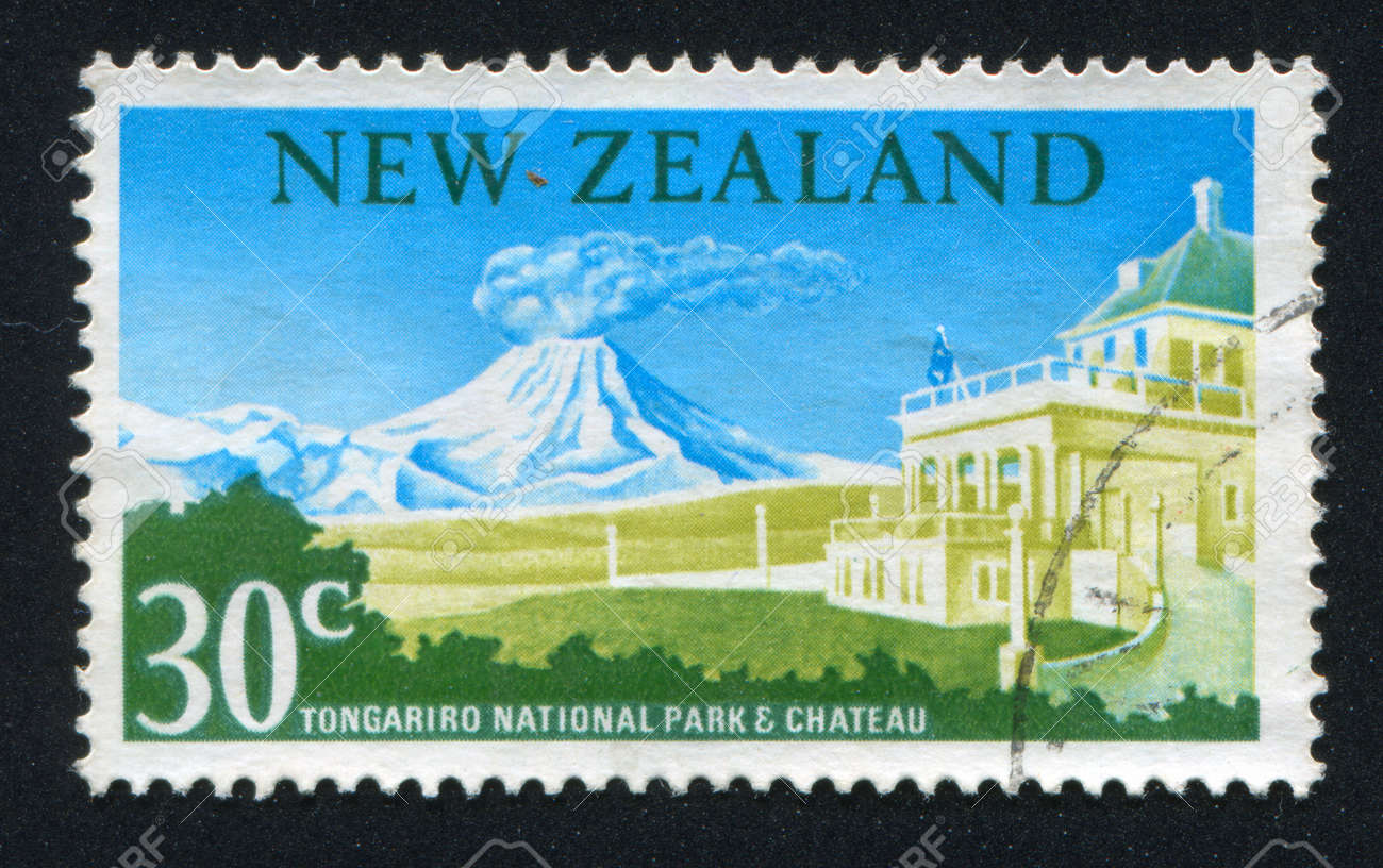 NEW ZEALAND - CIRCA 1963: stamp printed by New Zealand, shows Tongariro National Park, Chateau, circa 1963 Stock Photo - 13265894