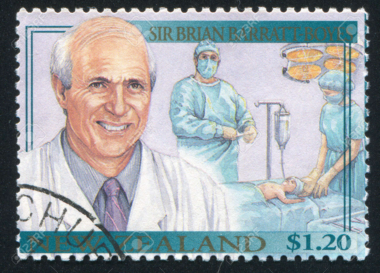 NEW ZEALAND - CIRCA 1995: stamp printed by New Zealand, shows Famous Living New Zealanders, Sir Brian Barratt-Boyes, science, medicine, education, circa 1995 Stock Photo - 13353688
