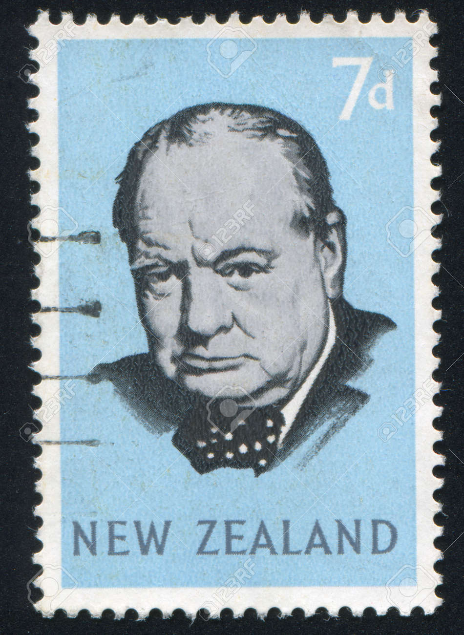 NEW ZEALAND - CIRCA 1965: stamp printed by New Zealand, shows Sir Winston Spencer Churchill, circa 1965 Stock Photo - 13460748