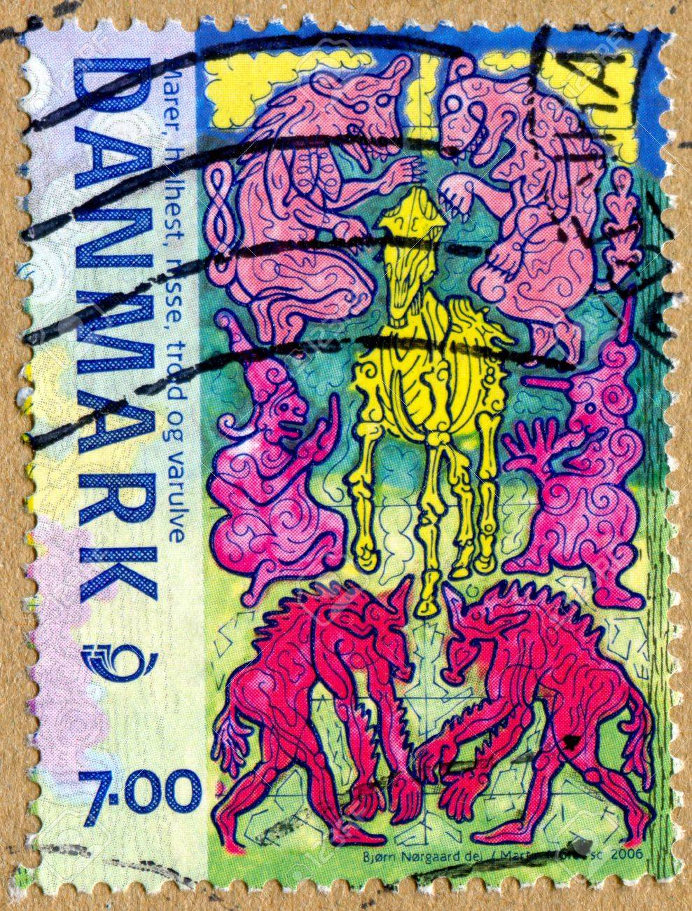 DENMARK - CIRCA 2006: stamp printed by Denmark, shows Creatures in Norse Mythology, Incubi, werewolves, hel-horse, gnome and troll, circa 2006 Stock Photo - 13703517