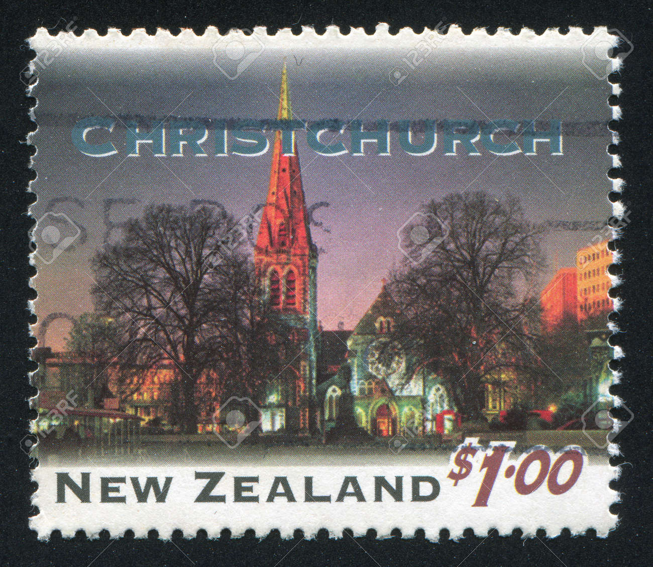 NEW ZEALAND - CIRCA 1995: stamp printed by New Zealand, shows New Zealand at Night, Christchurch, circa 1995 Stock Photo - 13891859