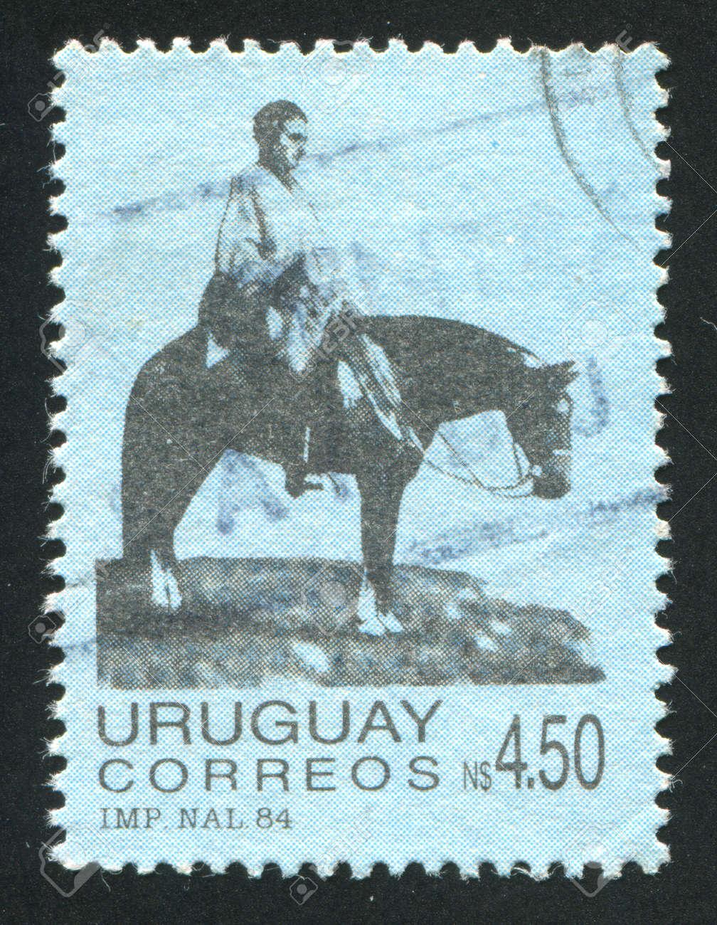 URUGUAY - CIRCA 1984: stamp printed by Uruguay, shows Artigas on the Plains, circa 1984 Stock Photo - 13892121