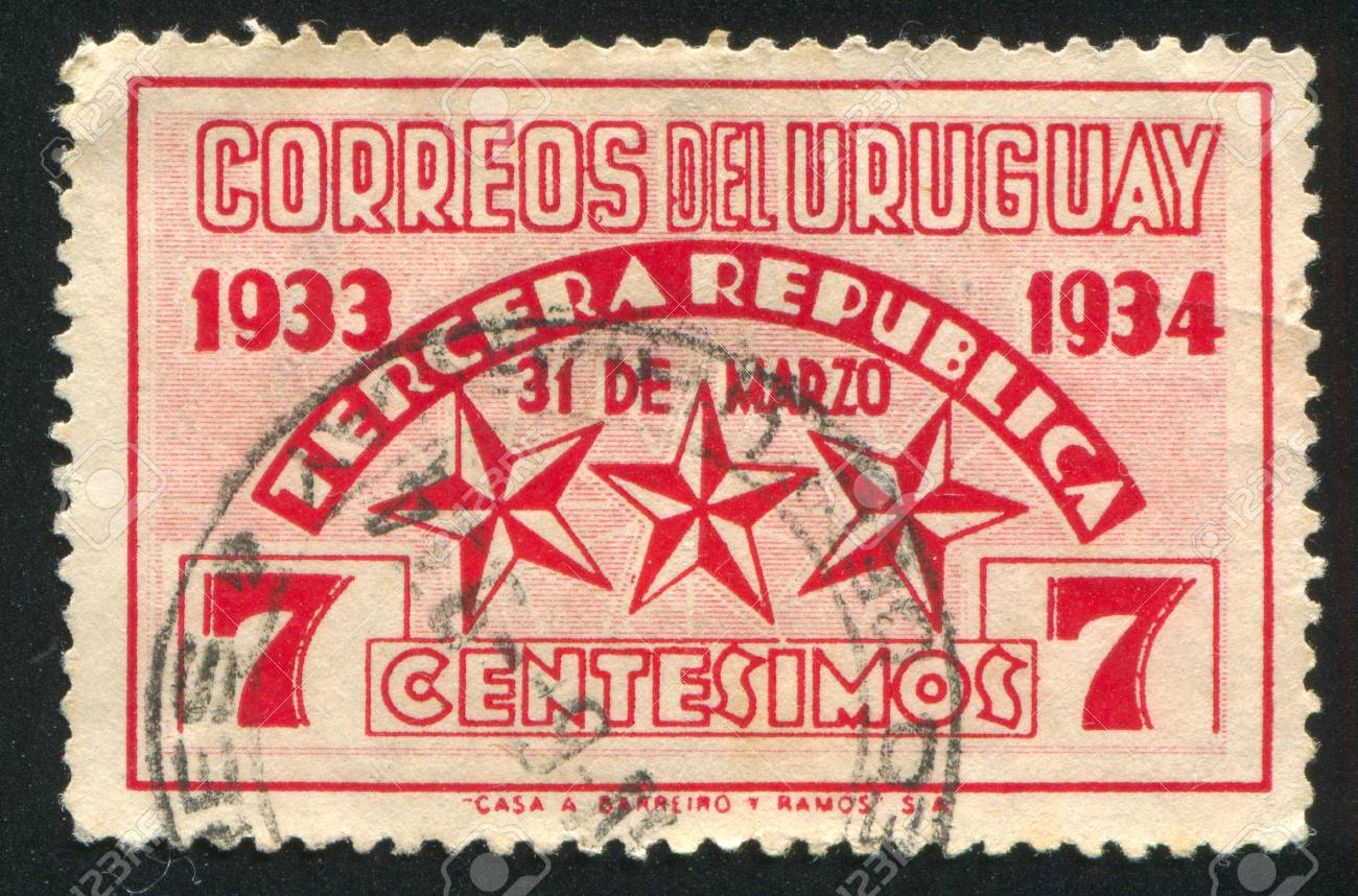 URUGUAY - CIRCA 1934: stamp printed by Uruguay, shows Stars Representing the Three Constitutions, circa 1934 Stock Photo - 13891736