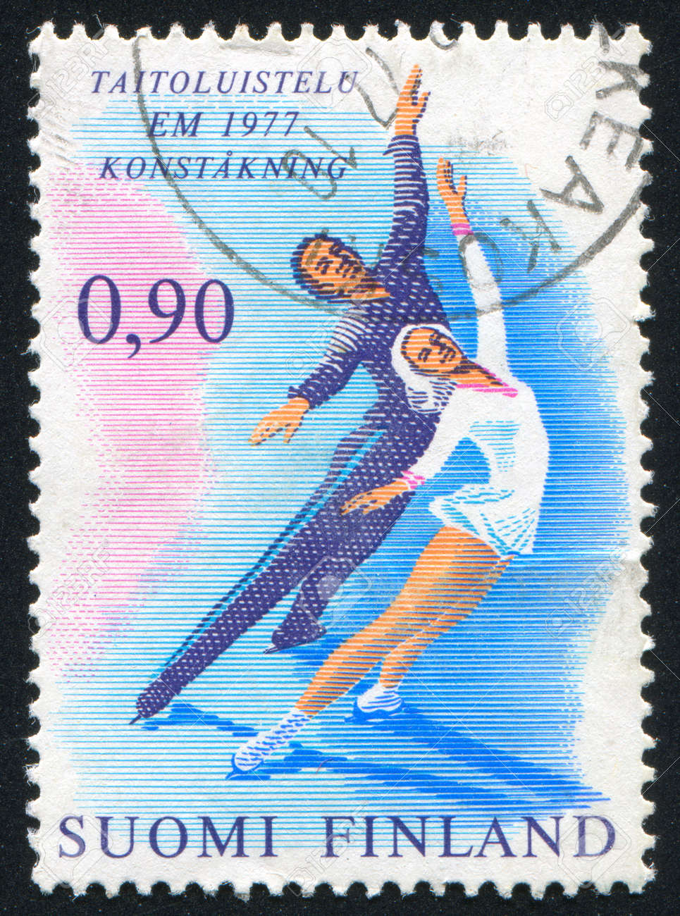 FINLAND - CIRCA 1977: stamp printed by Finland, shows Ice Dancers, circa 1977 Stock Photo - 13983032