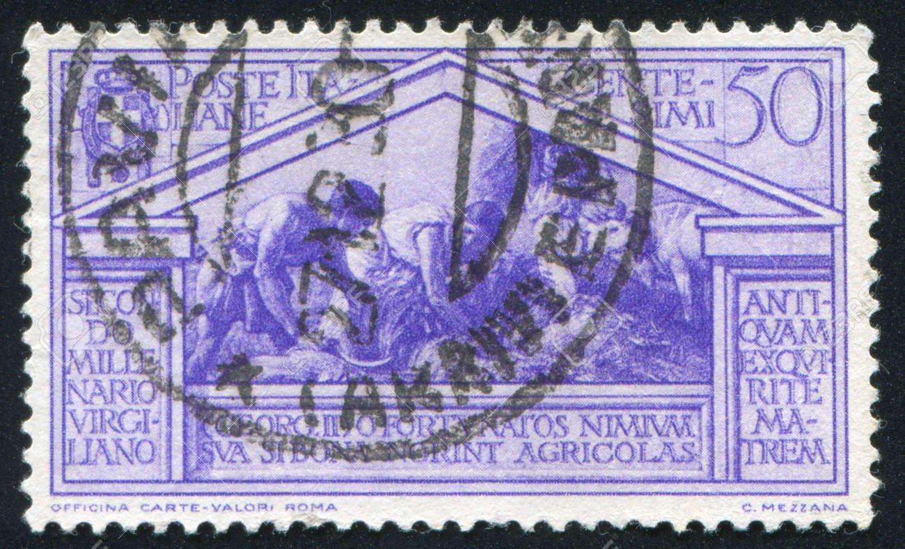 ITALY - CIRCA 1930: stamp printed by Italy, shows Harvesters at work, circa 1930 Stock Photo - 13983507