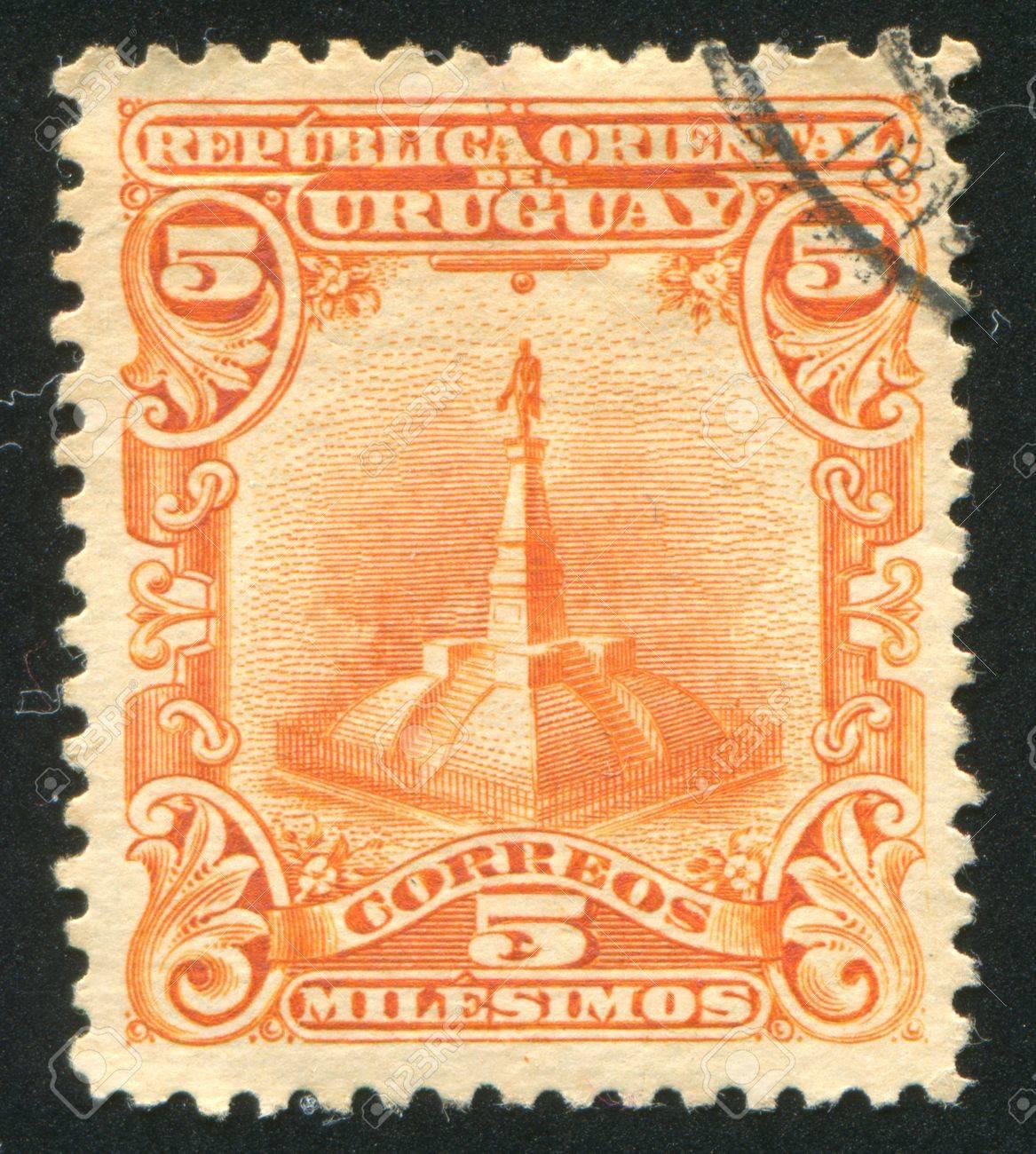 URUGUAY - CIRCA 1899: stamp printed by Uruguay, shows Statue of Artigas, circa 1899 Stock Photo - 13981856