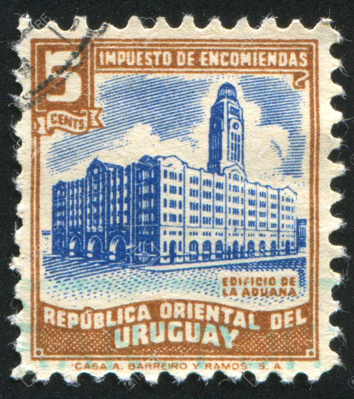 URUGUAY - CIRCA 1946: stamp printed by Uruguay, shows Custom