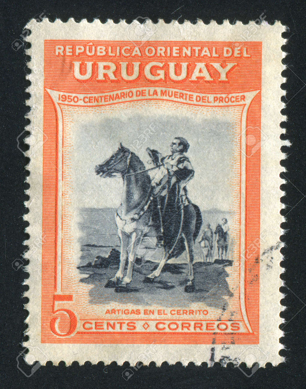 URUGUAY - CIRCA 1952: stamp printed by Uruguay, shows Equestrian Artigas, circa 1952 Stock Photo - 14136979