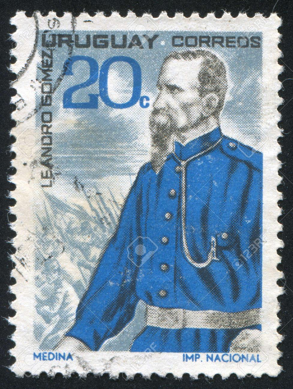 URUGUAY - CIRCA 1966: stamp printed by Uruguay, shows Leandro Gomez, circa 1966 Stock Photo - 14136968